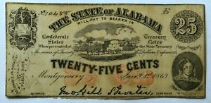 1863 25 Cents Note Montgomery Alabama Civil War Confederate Paper Money Ungraded