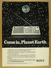 1981 Sony ICF-2001 Worldband Radio 'Come in, Planet Earth.' vintage print Ad