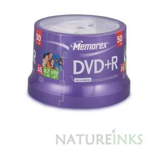 50 Genuine Memorex Blank DVD+R 16x DVD discs 4.7 GB 120 mins Cakebox Taiwan
