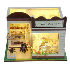 NEW Dollhouse Miniature DIY Model Kit w/ Cover Love Sweet Bakery Cake Shop House