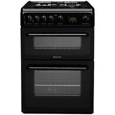 Hotpoint HAG60K 60cm Double Oven Gas Cooker with 4 Hotplate Burners in Black