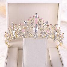 Pink Crystal Rhinestones Princess Crown Tiara Wedding Headdress Hair Accessories