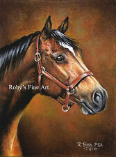 """Horse Art Print """"Thoroughbred"""" 8x10 Giclee Image by Realism Artist Roby Baer PSA"""