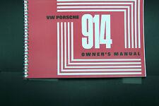 1971 Porsche 914 Owners Manual Service factory reprint maintenance adjustments