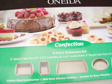 Oneida Confection 5 Piece Cake Loaf Cookie Muffin Baking Pan Bakeware Set New