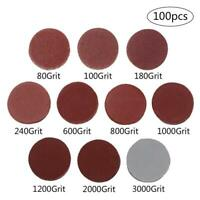 100pcs 2'' 50mm Sander Sanding Discs Pads 80 - 3000 Grit Hook & Loop Sandpaper