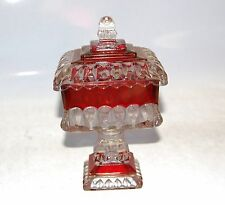 Westmoreland Glass Wedding Bowl with Lid Crystal Ruby Stain Footed