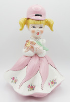 Vintage Bisque Pottery Hand Painted Girl in Dress Floral Flower Figurine Statue
