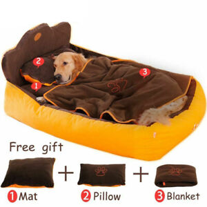 Pet Dog Warm Bed With Double Sided Cushion Soft Pillow & Blanket
