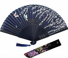 Japanese Traditional Fan SENSU Silk High Quality Sakura Cherry Navy w/case