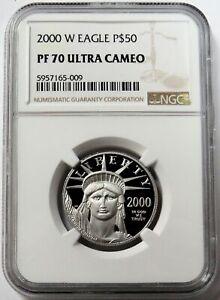 2000 W PLATINUM $50 PROOF AMERICAN EAGLE 1/2 OZ LIBERTY COIN NGC PF 70 UC