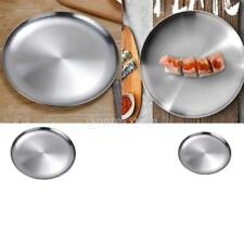 Baoblaze 2x Stainless Steel Dinner Plate Dish for Salad BBQ Insulated New