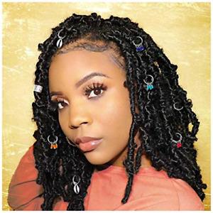 Woeoe African Braids Clip Silver Beads Dreadlock Rings Jewelry Box Hair Charms 7