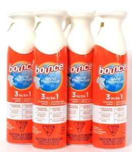 4 Bounce 9.7 Oz Rapid Touch 3 In 1 Clothing Spray Release Wrinkle Odor & Static