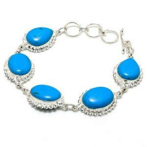 "Santa Rosa Turquoise Gemstone Handmade 925 Sterling Silver Bracelet 7-8"" C240"
