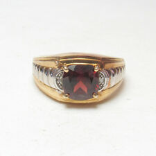 Mens Estate 10K Yellow And White Gold 3.00 Ct Natural Red Garnet Diamond Ring