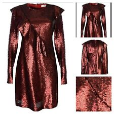 Glamorous Size S 10 Long Sleeve Red Allover Sequin DRESS Evening Party £72 Fab