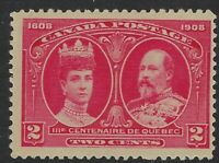 Scott 98: 2c Quebec Tercentenary King Edward VII and Queen Alexandra, NH