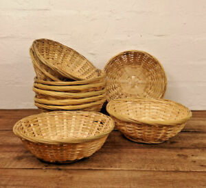 Sets Of Round Wicker Bamboo Baskets Bread Fruit Snacks Crafts Storage Organise
