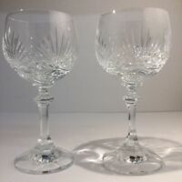 Pair Of Quality Cut Glass Crystal Wine Goblets / Glasses. Knopped Stems. Heavy
