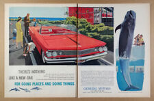 1960 Pontiac Bonneville Convertible Marineland of the Pacific art vintage Ad