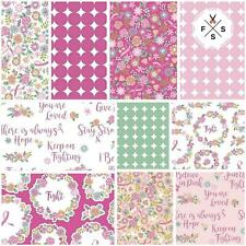 I Believe in Pink, Fat Quarter Bundle, 10pc, Quilt Fabric, Pink Ribbons