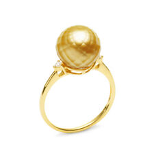 Super 10.5MM Faceted Golden South Sea Pearl Ring 18K Yellow Gold&Diamonds,6.5#