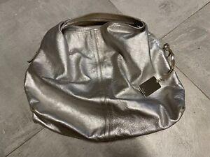 FURLA Tasche Beuteltasche echt Leder silber