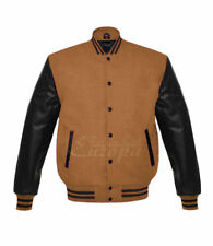 New Wool Jacket Genuine Leather Sleeve Letterman College Varsity Men XS-4XL