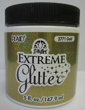 New Plaid Folk Art Extreme Gold Glitter Acrylic Paint 5 fl.oz/147.9ml #2771