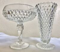 """Vintage Indiana Glass Diamond Footed 7.5"""" Compote Candy Dish & 7.75"""" Vase Set"""
