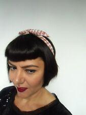 Bandeau foulard cheveux rigide modulable cordon maléable pied de poule rose