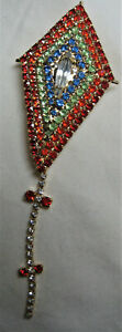 DOROTHY BAUER USA Kite pin in Swarovsk Austrian Crystal rainbow g