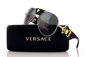 New VERSACE Runway Black Gold Medusa Aviator Mens Womens Sunglasses Mod VE 2150Q