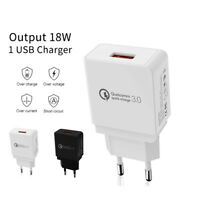 EU Plug Qualcomm Certified Quick Charge QC3.0 18W Rapid USB Wall Charger Adapter