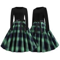 Women Vintage A-Line Swing Dress Ladies Long Sleeve Check Rockabilly Party Dress