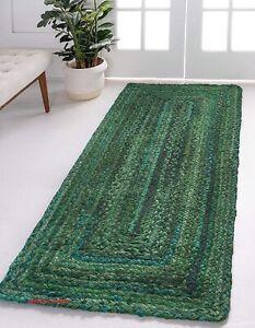 Rug Runner 100% Natural Cotton Braided 2.6x6 Feet Handmade Reversible Rag Rug