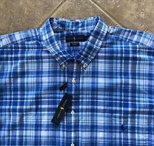 Ralph Lauren Button Down Shirt Mens 4XLT Blue/White Plaid w/Pony Stretch NWT $98