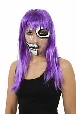 TRANSPARENT MASK SKELETON HALF FACE PRINT HALLOWEEN FANCY DRESS ACCESSORY