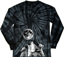 Wolves T-shirt Howling at the Moon Tie Dye Long Sleeve