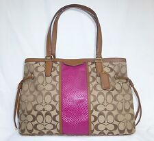 New With Tag Coach Khaki and Cherry Signature Tote Carry All Bag F29863 $358