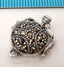 1x STERLING SILVER MARCASITE ROUND 1-strand PEARL BOX CLASP 11.5mm #2267