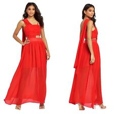 PPQ Cream Label Size 12 14 Simply Fab Red Drape Cut Out Maxi Gown DRESS £195