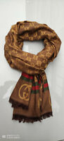 Auth GUCCI GG logo Wool Silk unisex gold brown scarf NEW