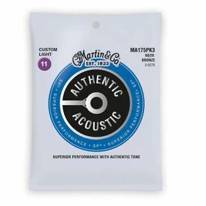 3 Sets Martin Authentic Acoustic SP Strings 80/20 Bronze Custom Light .011-.052