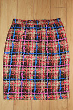 J.Crew Collection Silk Pencil Skirt in Electric Plaid Size 4 NWT Sweet Orange