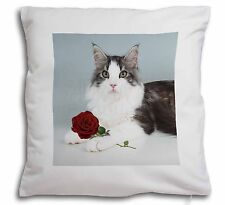 Gorgeous Cat with Red Rose Soft Velvet Feel Cushion Cover With Inner, AC-36R-CPW
