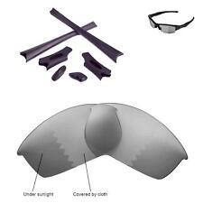 WL Polarized Transition Replacement Lenses Black Rubber Kit 4 Oakley Flak Jacket