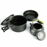 3in1 Outdoor Camping Hiking Picnic Cooking Set Pot Frying Pan Teapot Cookware UK