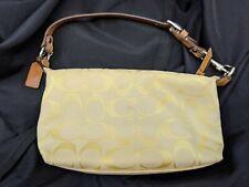 COACH SIGNATURE DEMI HOBO SATCHEL Purse Bag Handbag yellow CANVAS Leather